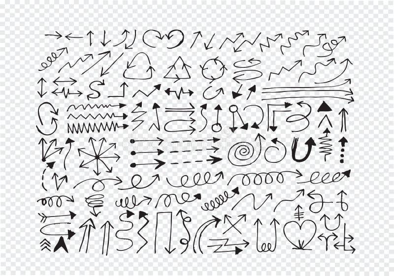 De hand getrokken inzameling van de schetspijl vector illustratie