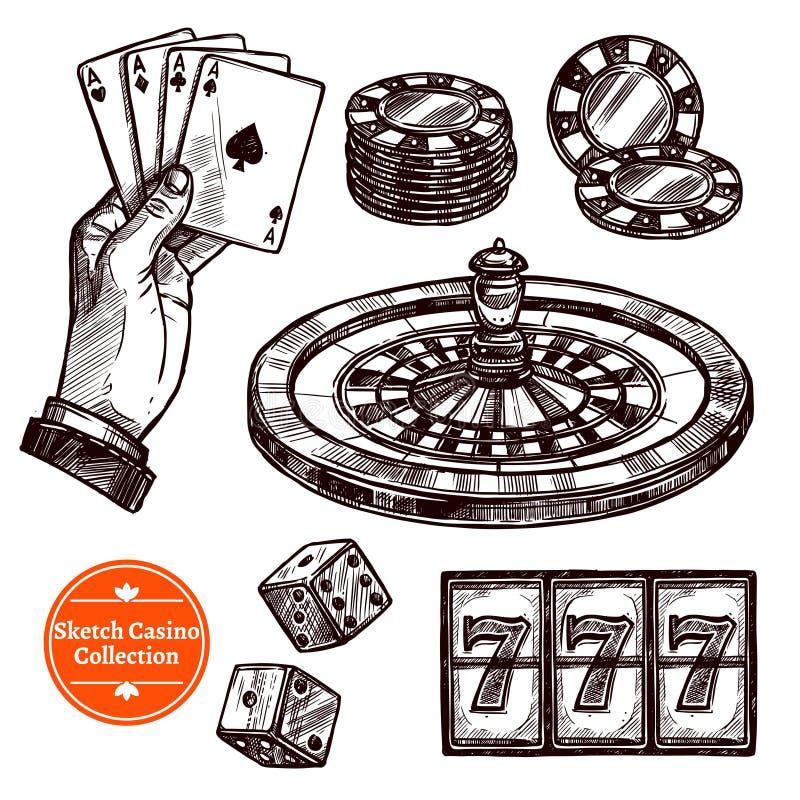 De hand Getrokken Inzameling van het Schetscasino royalty-vrije illustratie