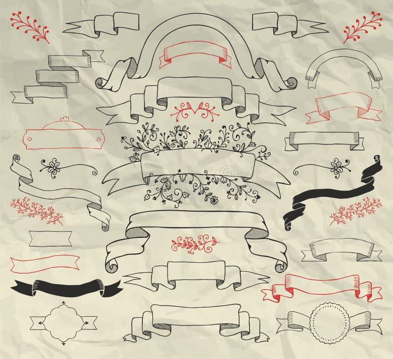 De hand Getrokken Inzameling van Krabbellinten op Verfrommeld royalty-vrije illustratie