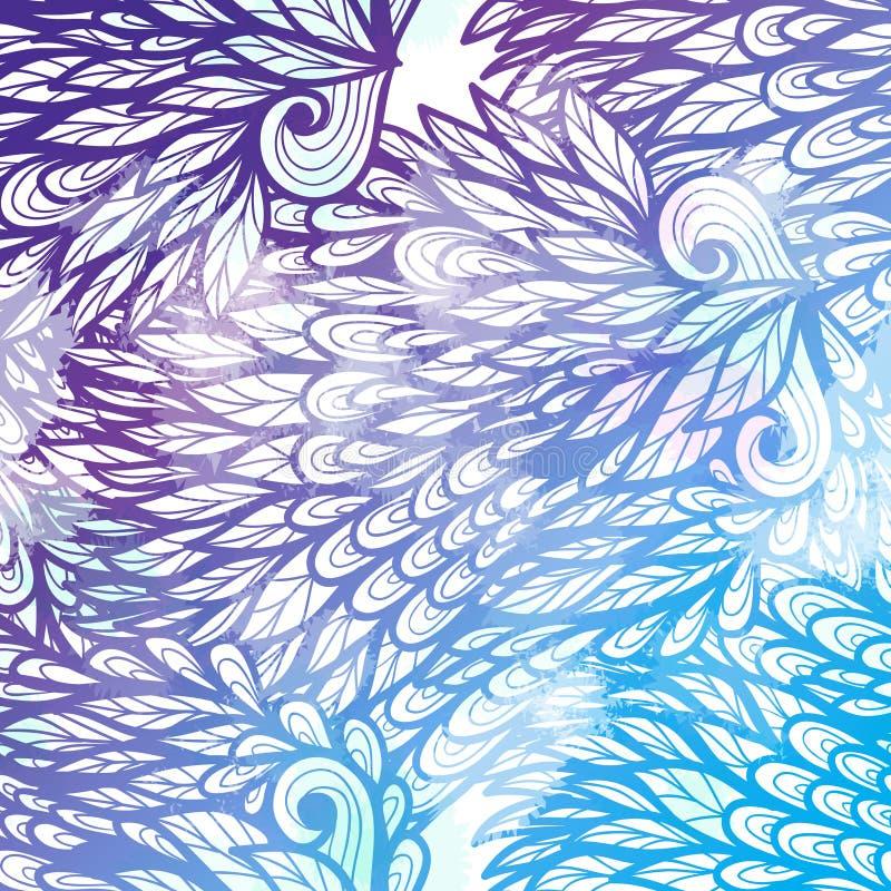De hand getrokken kaart van de gradiënt violette en blauwe bloemenuitnodiging stock illustratie