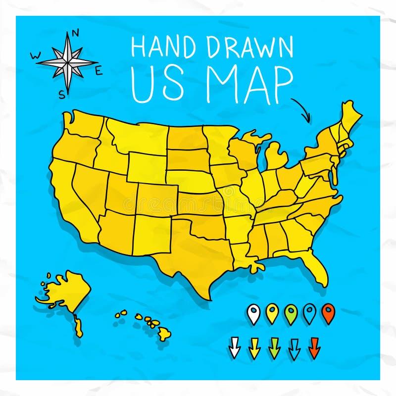 De hand getrokken kaart van de V.S. met spelden vector illustratie
