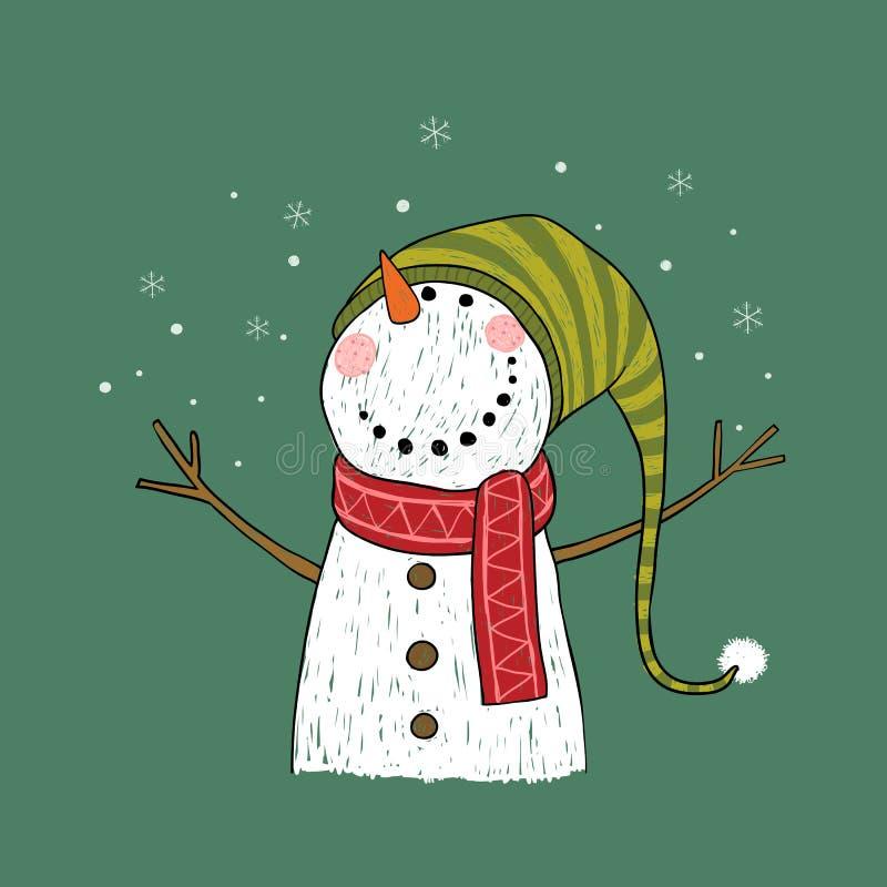 De hand getrokken kaart van de Kerstmisgroet met sneeuwman royalty-vrije illustratie
