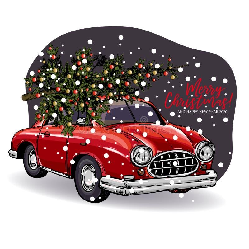 De hand getrokken kaart van de Kerstmisgroet Vector retro rode auto met verfraaide spar op bovenkant Sneeuwavond boskerstmis en stock illustratie