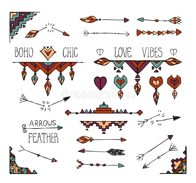 De hand getrokken kleurrijke inzameling van boho stammenelementen vector illustratie