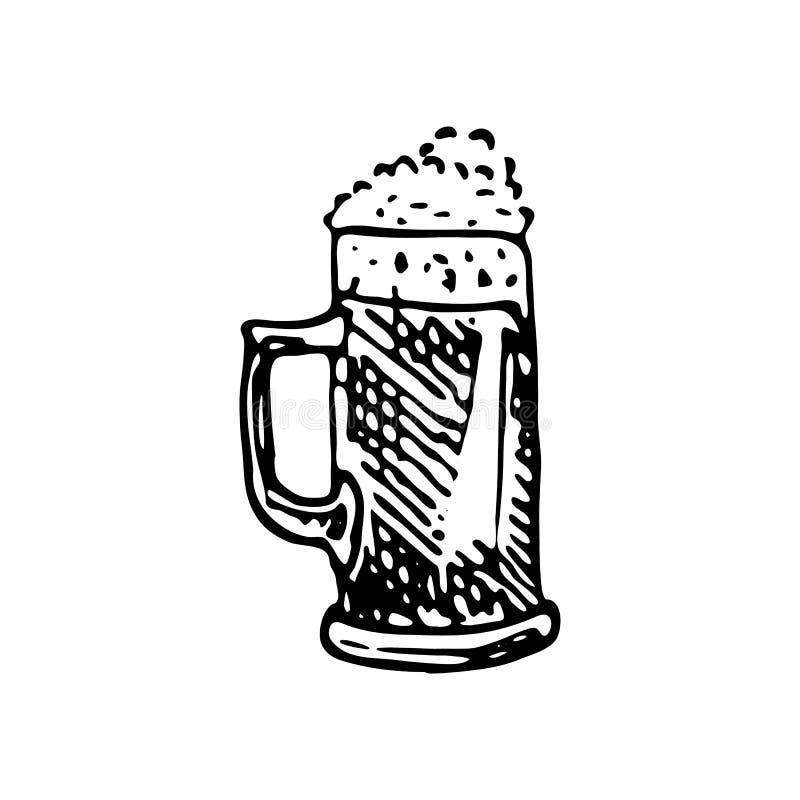 De hand getrokken krabbel van de biermok Schetsvoedsel en drank, pictogram Decorat royalty-vrije illustratie