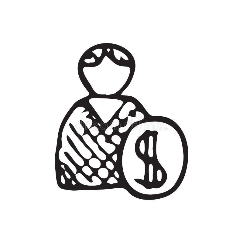 De hand Getrokken krabbel van het mensengeld Het pictogram van de schetsdollar Decoratie elem stock illustratie