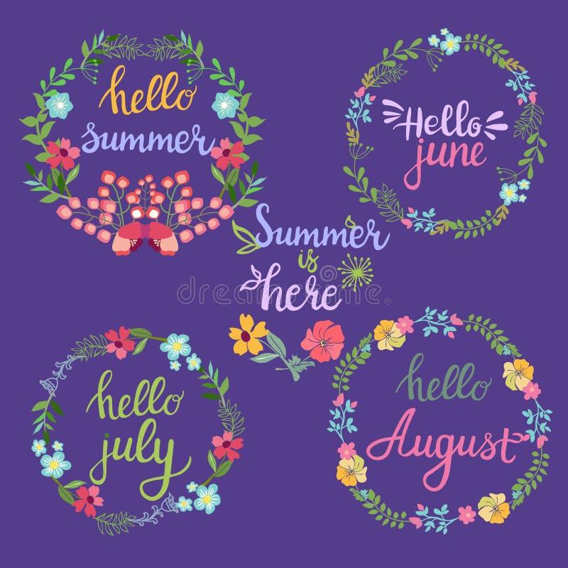 De hand getrokken kronen van de zomerbloemen met de zomer van teksthello, juni, vector illustratie