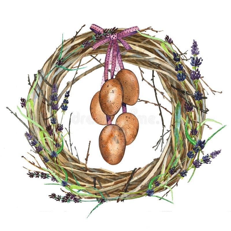 De hand getrokken Kroon van de waterverfkunst met de Lentebloemen en eieren Geïsoleerde illustratie op witte achtergrond stock illustratie