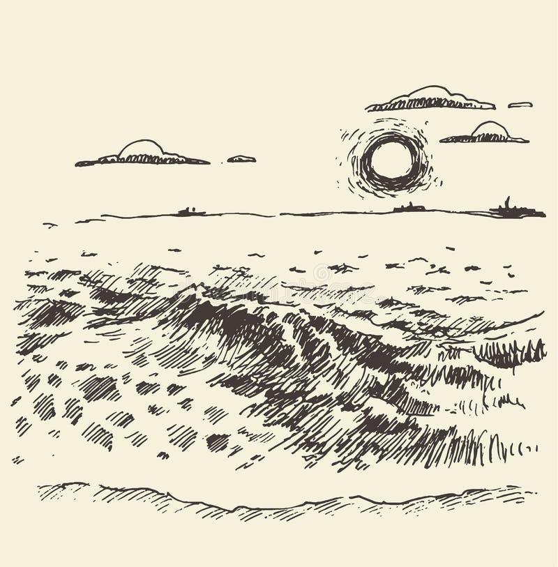 De hand getrokken landschaps van de overzeese schets wolkenzonsondergang vector illustratie