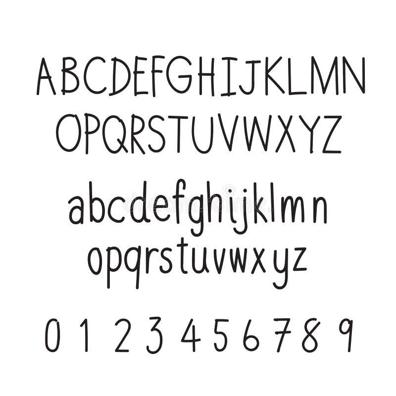 De hand Getrokken Lettersoort van de Doopvont Met de hand geschreven schets stock illustratie
