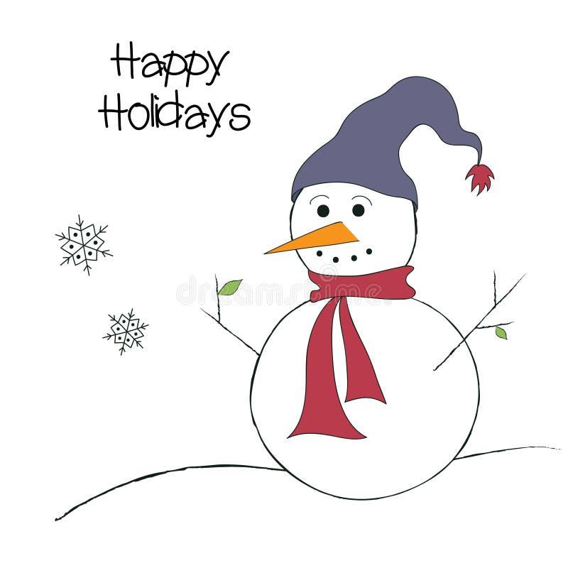 De hand getrokken leuke vector van de sneeuwman gelukkige vakantie vector illustratie