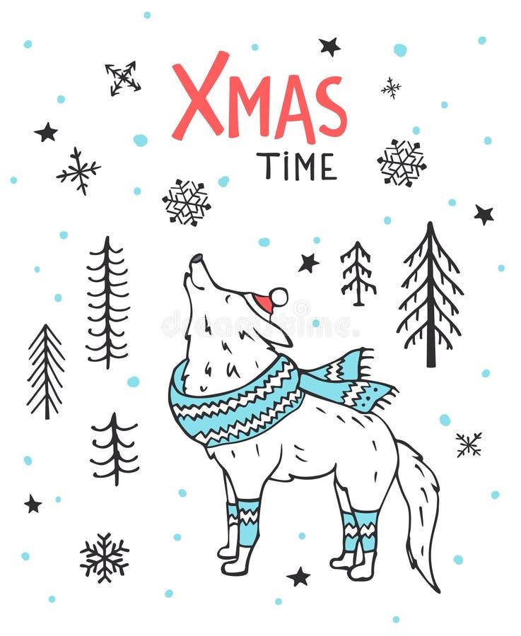 De hand getrokken met de hand geschreven kaart van de de tijdgroet van de winterkerstmis met leuke beeldverhaalwolf in de bos dra royalty-vrije illustratie
