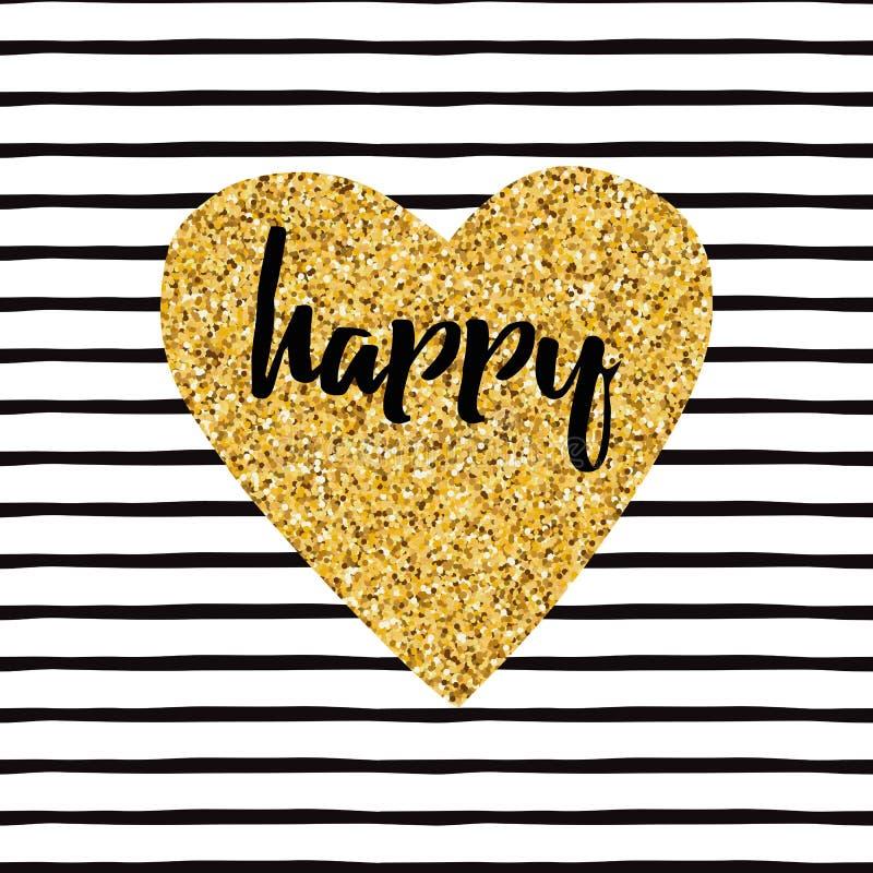 De hand getrokken moderne gouden vorm van het fonkelingshart, tekst gelukkig op wit royalty-vrije illustratie
