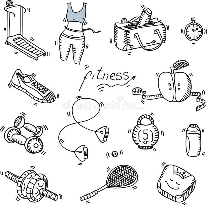 De hand getrokken pictogrammen van de krabbelschets geplaatst geschiktheid en royalty-vrije illustratie