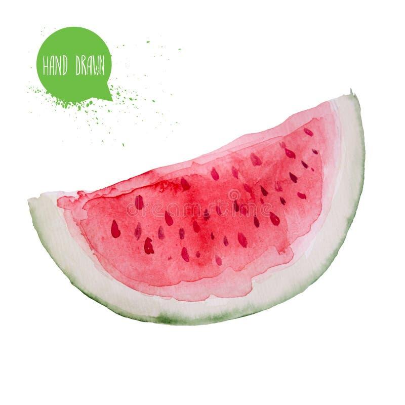 De hand getrokken plak van de waterverfwatermeloen Geïsoleerd op witte achtergrondfruitillustratie royalty-vrije illustratie