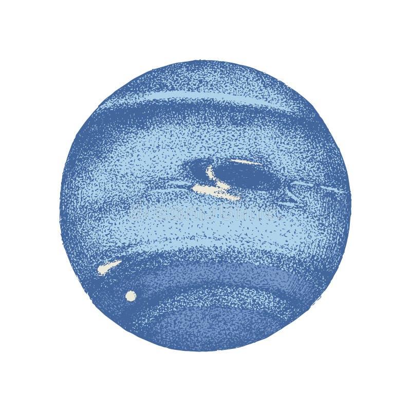 De hand getrokken planeet van Neptunus stock illustratie