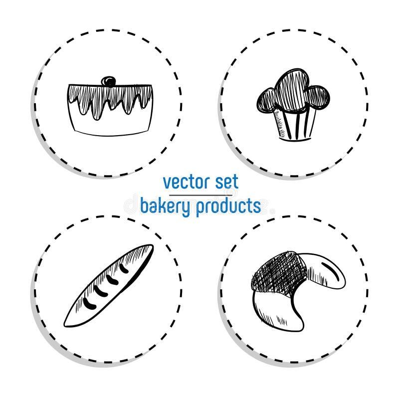De hand Getrokken reeks van de snel voedselsticker Bordpictogram met krijtontwerp Vector illustratie Cake, cupcake, baguette en C royalty-vrije illustratie