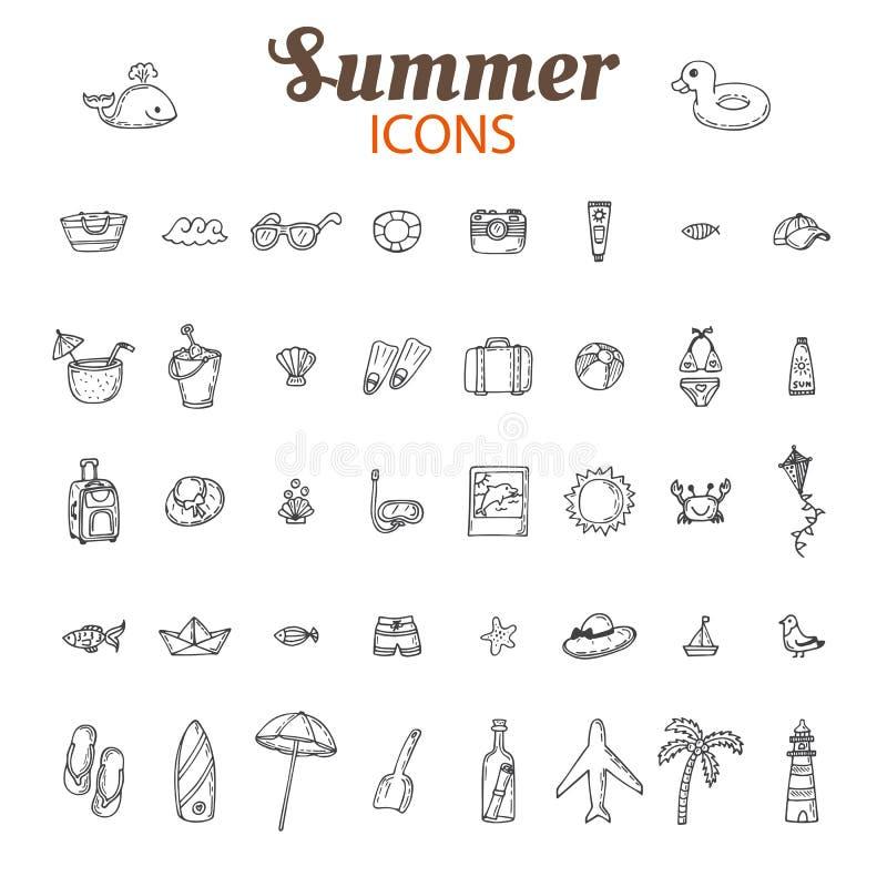 De hand getrokken reeks van het de zomer vectorpictogram De inzameling van strandpictogrammen Vacat stock illustratie