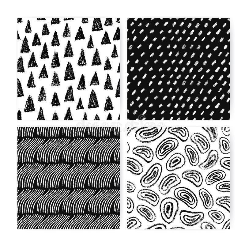 De hand getrokken reeks van het krabbel abstracte naadloze patroon Inzameling van zwart-witte achtergronden met verschillende uit vector illustratie