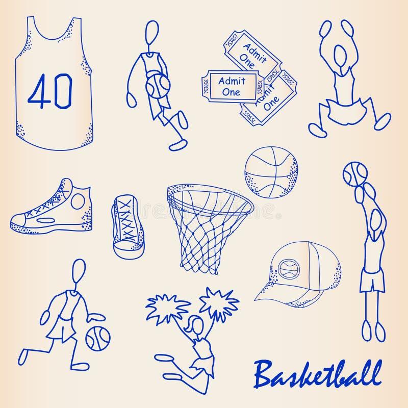 De hand Getrokken Reeks van het Pictogram van het Basketbal vector illustratie