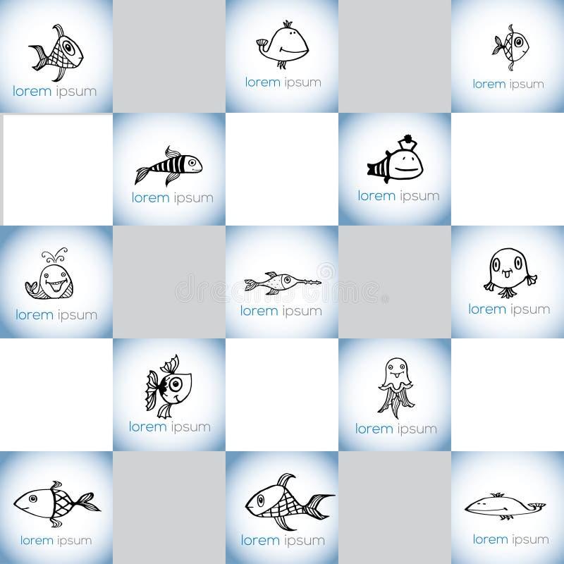 De hand getrokken reeks van het vissen vectorembleem royalty-vrije illustratie