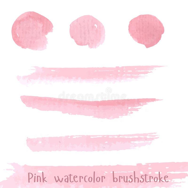 De hand getrokken roze waterverf van de verfpenseelstreek royalty-vrije illustratie