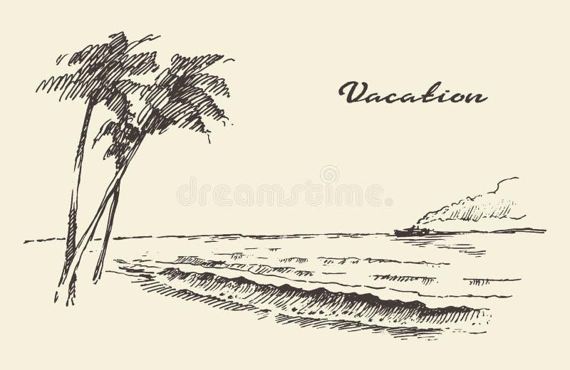 De hand getrokken schets van het de kuststrand van de vakantieaffiche vector illustratie