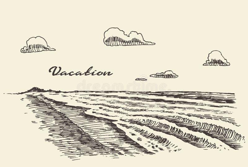 De hand getrokken schets van het de kuststrand van de vakantieaffiche royalty-vrije illustratie
