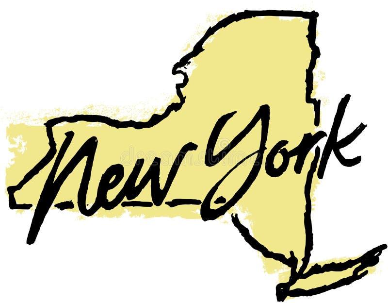 De hand Getrokken Schets van de Staat van New York royalty-vrije illustratie