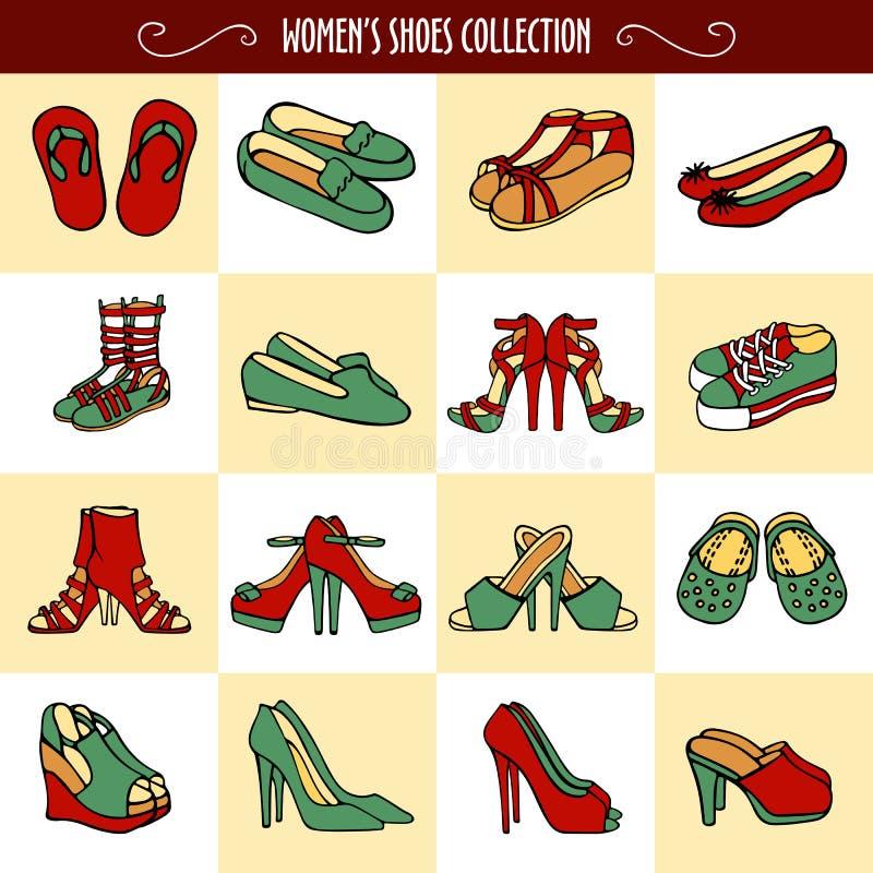 De hand getrokken schoenen van vrouwen in rode en groene kleuren royalty-vrije illustratie