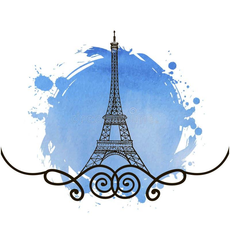 De hand getrokken toren van Eiffel parijs vector illustratie