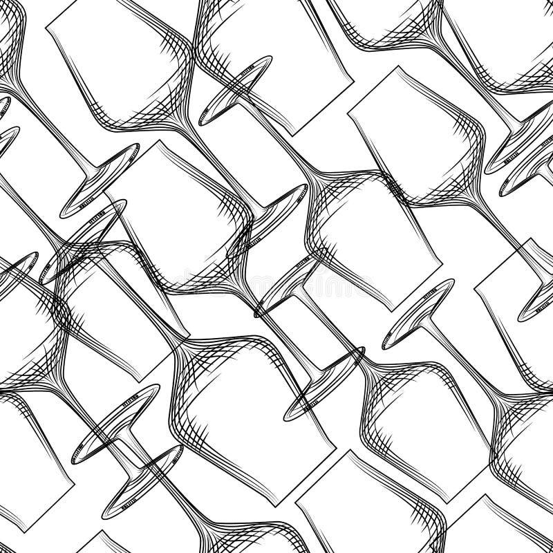 De hand getrokken transparante illustratie van het glaswerk naadloze patroon stock illustratie