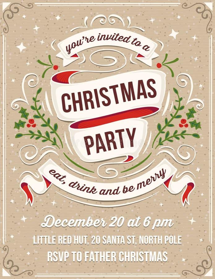 De hand Getrokken Uitnodiging van de Kerstmispartij met Witte Linten vector illustratie