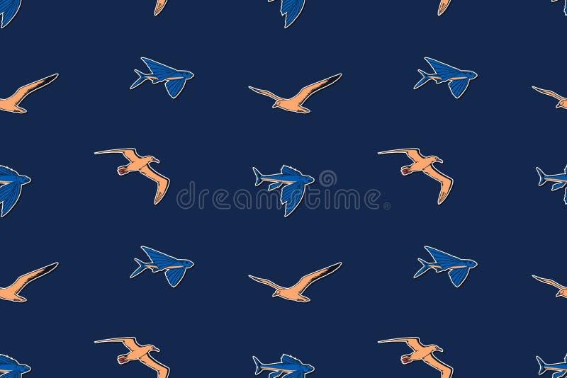 De hand getrokken uitstekende mariene vectorillustratie van het het wild naadloze patroon Albatros, meeuw en de vliegende eindelo royalty-vrije illustratie