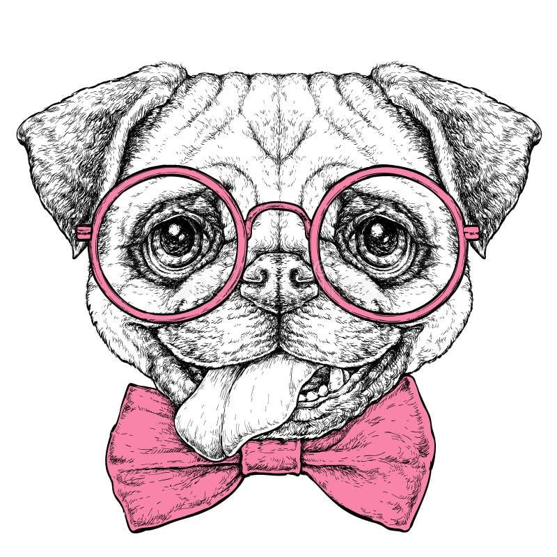 De hand getrokken uitstekende retro schets van de hipsterstijl van leuke grappige Pug Hond in glazen Vector illustratie royalty-vrije illustratie
