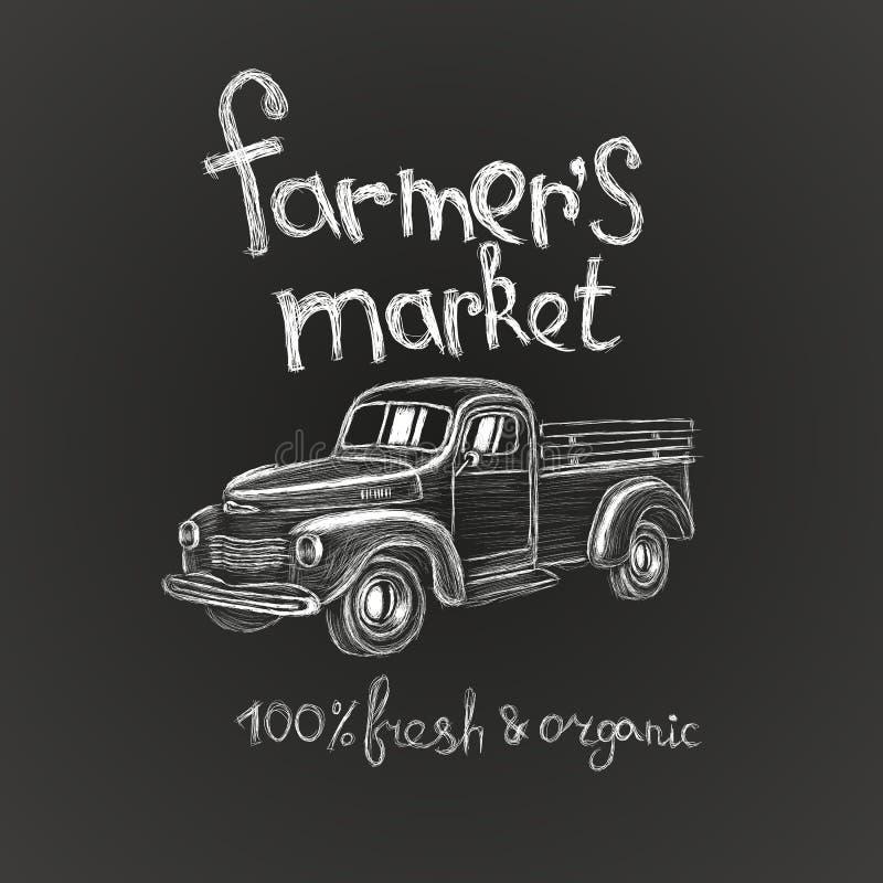 De hand getrokken van de de affichevlieger van de landbouwers` s markt van het embleemadvertenties kaart van de het kentekenuitno vector illustratie