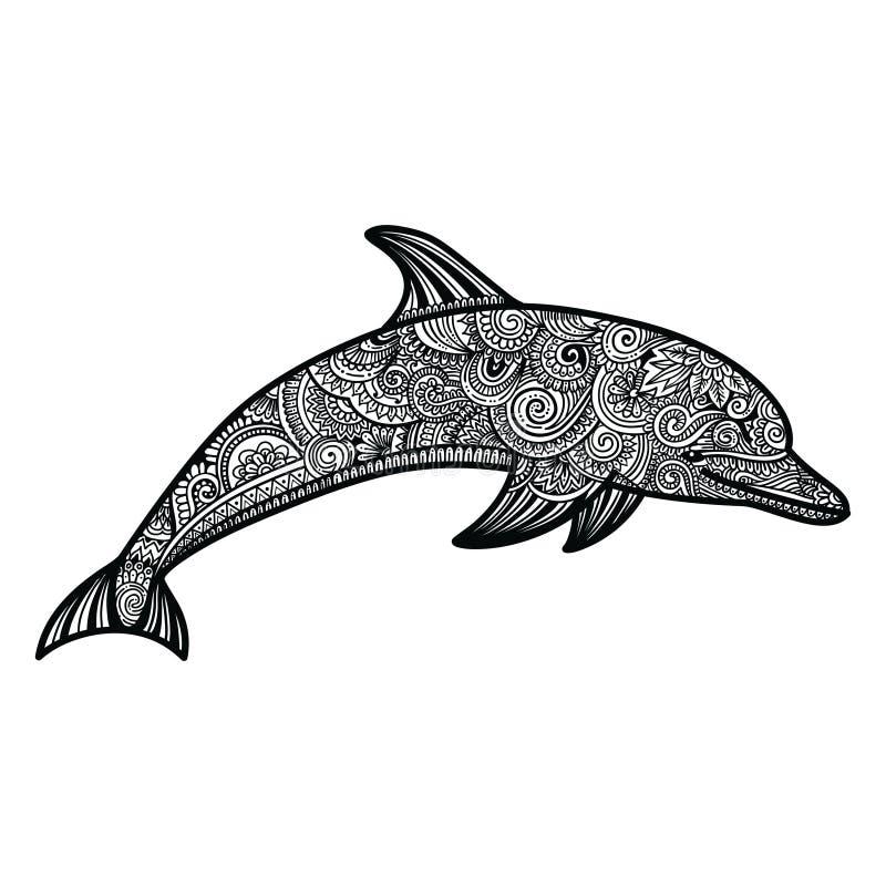De hand getrokken van de de verwarringsstijl van de krabbeldolfijn zen mooie krabbels illustratie van overzeese dieren vector illustratie