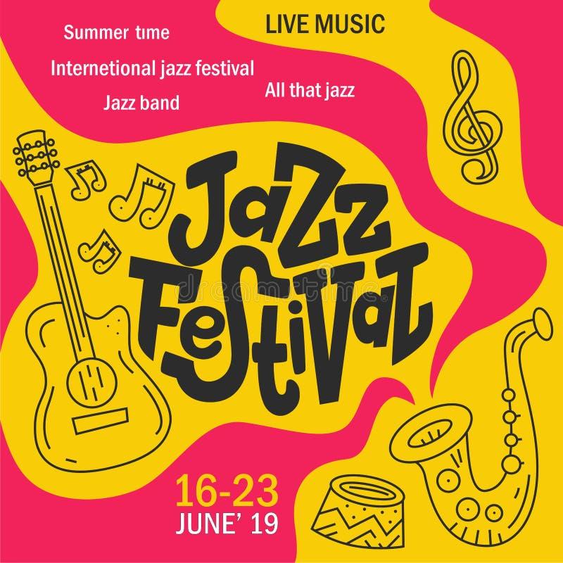 De hand getrokken van letters voorziende affiche van het Jazzfestival stock illustratie