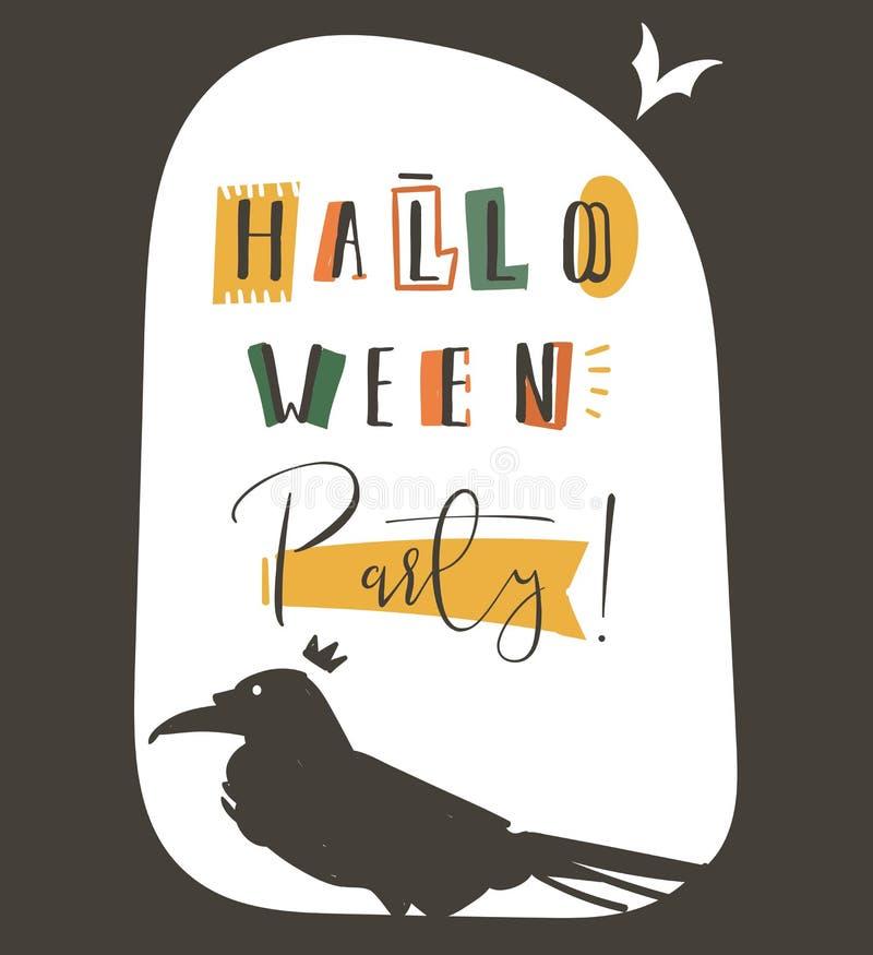 De hand getrokken vector abstracte affiche van de de illustratiepartij van beeldverhaal Gelukkige Halloween met verschillende dec stock illustratie