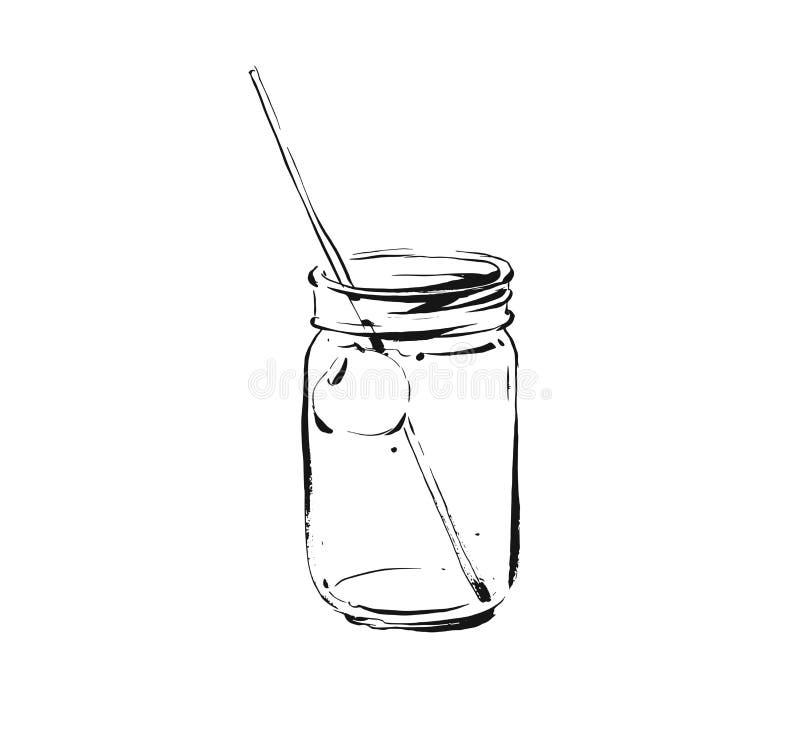 De hand getrokken vector abstracte artistieke kokende illustratie van de inktschets van de tropische drank van de de cocktailscho stock illustratie