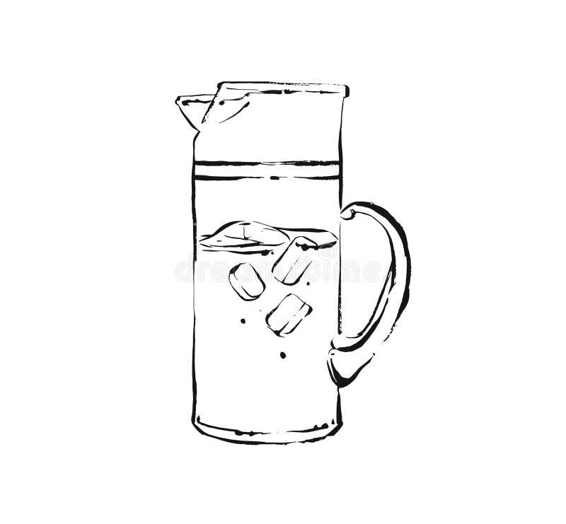 De hand getrokken vector abstracte artistieke kokende illustratie van de inktschets van tropische de schokdrank van de fruitlimon stock illustratie