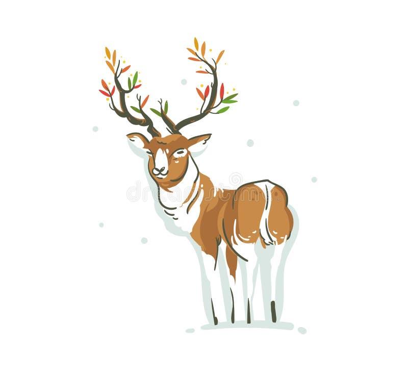 De hand getrokken vector abstracte illustratie van het de tijdbeeldverhaal van pret Vrolijke Kerstmis met jonge rendier en takgew stock illustratie