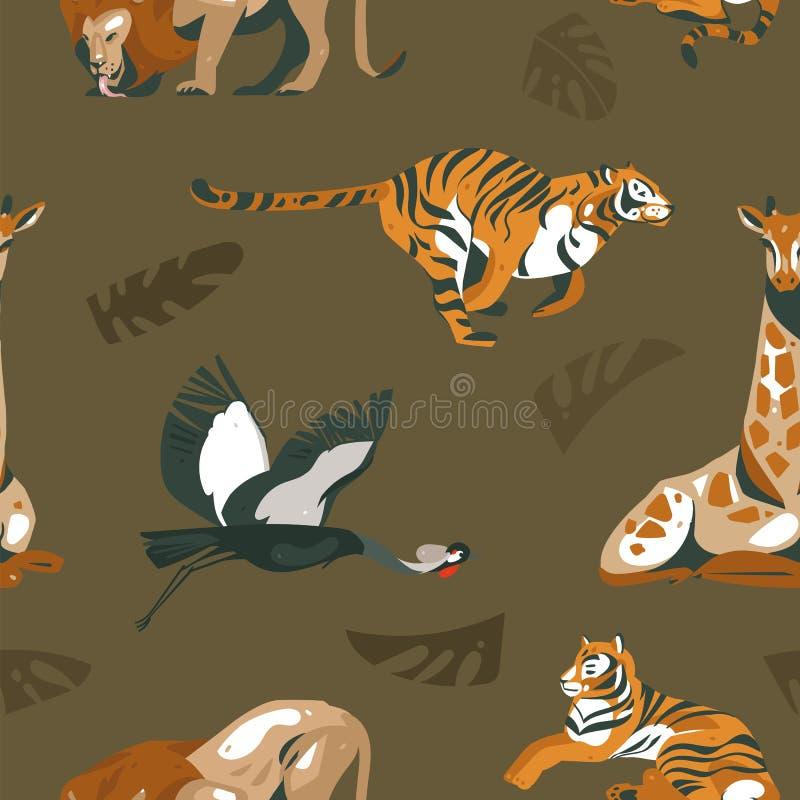 De hand getrokken vector abstracte moderne grafische Afrikaanse naadloze collage van de de illustratieskunst van Safari Nature si royalty-vrije illustratie