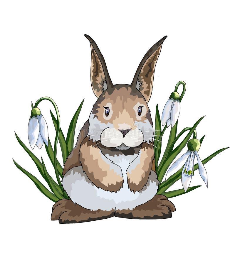 De hand getrokken vectorhazen of het konijn van beeldverhaal halftone vlakke creatieve Pasen stock illustratie