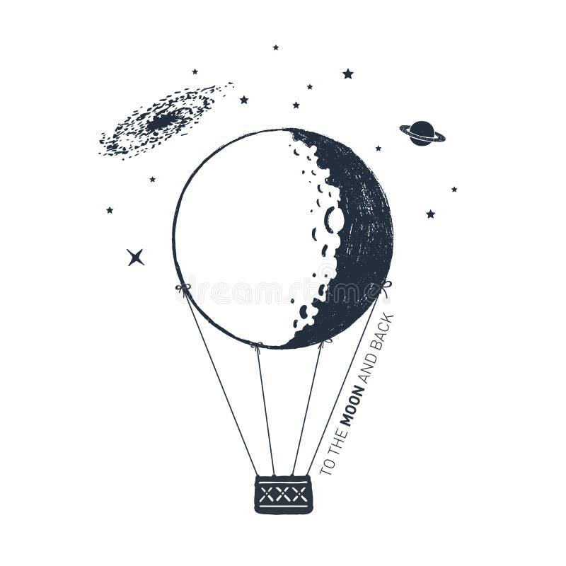 De hand getrokken vectorillustratie van de hete luchtballon stock illustratie
