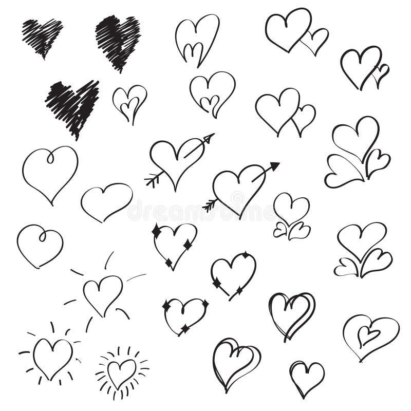 De hand getrokken vectorinzameling van krabbelharten, het pictogramreeks van beeldverhaalharten vector illustratie