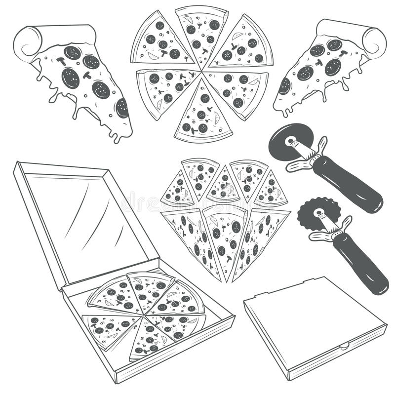De hand getrokken vectorreeks van pizzaplakken Pizzaetiketten, tekens, symbolen, pictogrammen en ontwerpelementen royalty-vrije illustratie
