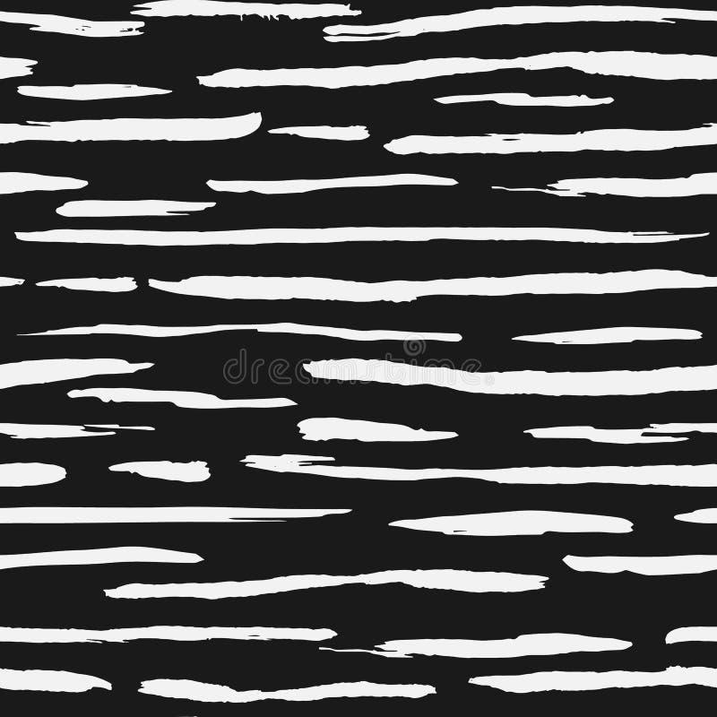 De hand getrokken witte achtergrond van de inktstreep Het artistieke naadloze patroon van borstelstrepen royalty-vrije illustratie