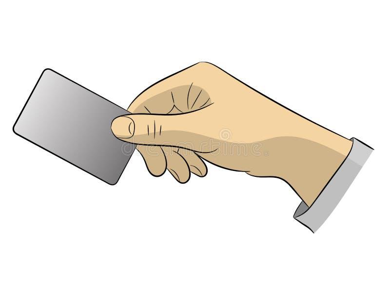 De hand houdt een creditcard voor betaling stand Vlakke stijl Witte achtergrond vector illustratie