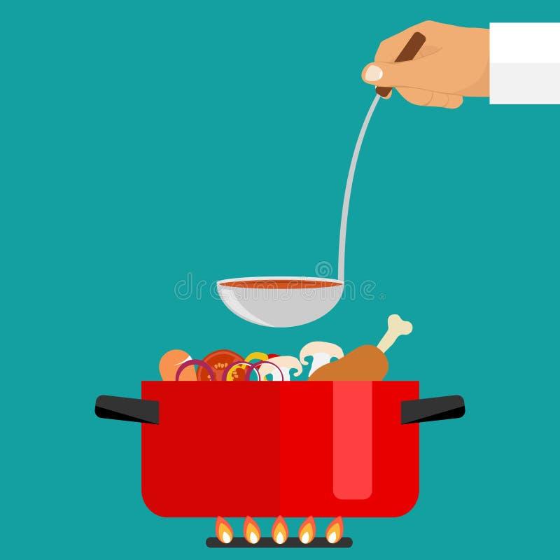 De hand houdt een gietlepel soep Braadpan met soep op brand royalty-vrije illustratie